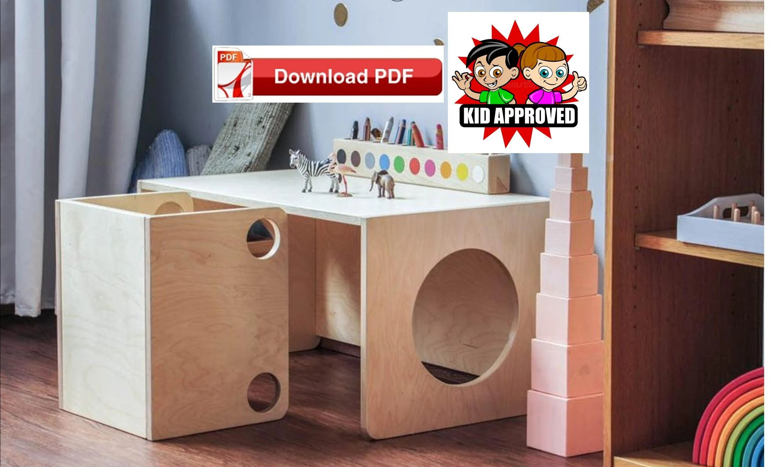 Cube Chairs Montessori Cube Chairs And Desk Table Plan Diy Activity Table And Chair Plan Toddler Chair Plan Toddler Table Plan Kids Craft Table Plan