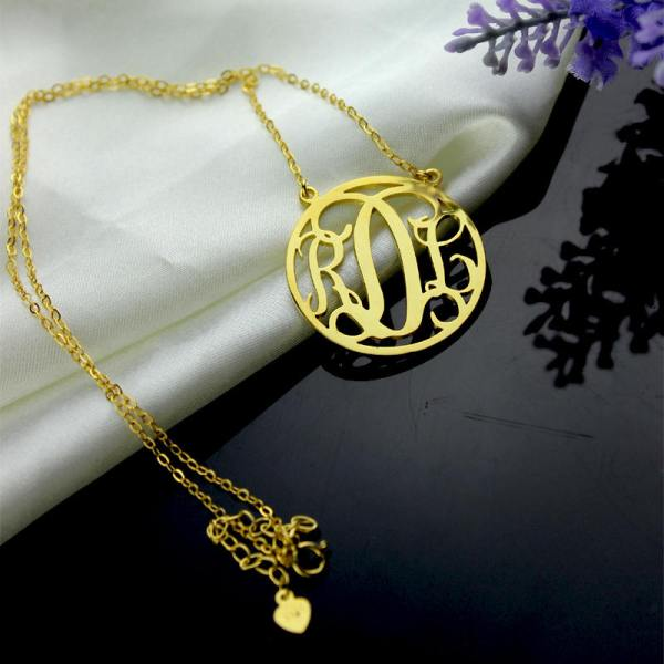 Monogram Necklace Gold 3 Initial