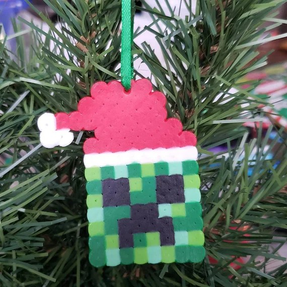 Minecraft Creeper Inspired Santa Ornament Etsy