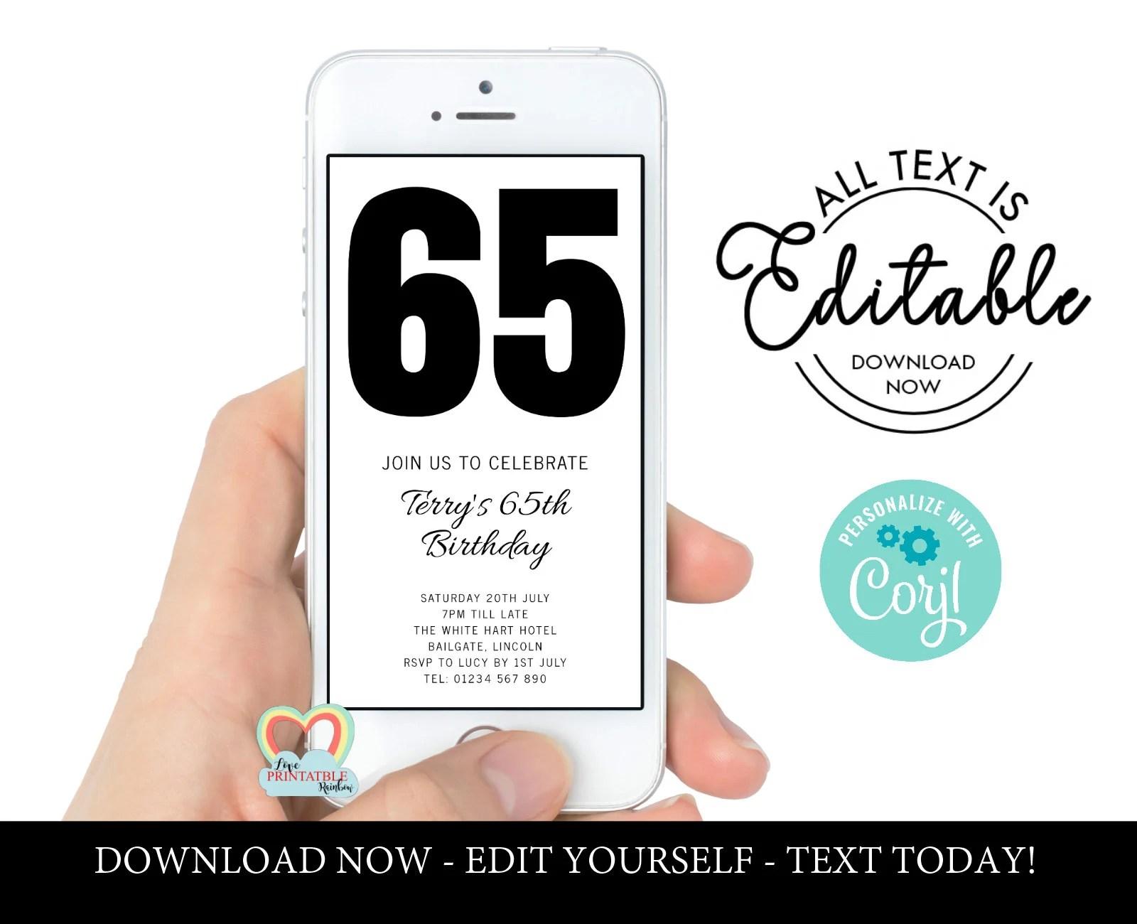 65th birthday invite etsy