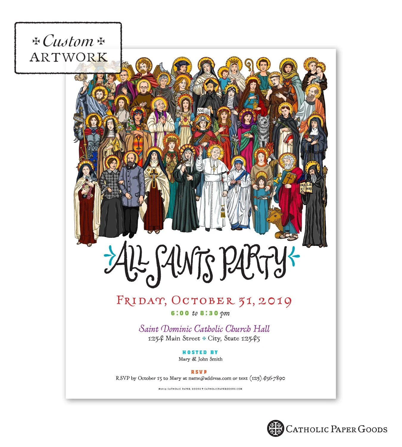 All Saints Day Party Invitation Flyer Customizable