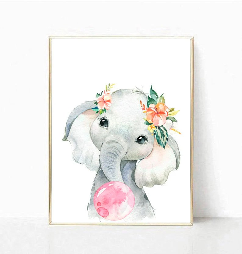 baby elephant print elephant