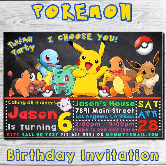 pokemon birthday invitation invitations pokemon invitation pokemon birthday party pokemon party diy