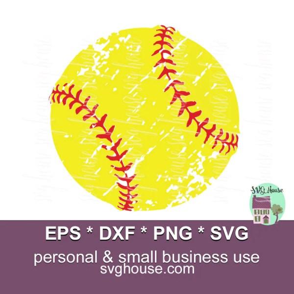 softball ball svg grunge files
