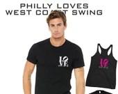 Love West Coast Swing - Philadelphia LOVE WCS tee, Love Park Swing Dance T-Shirt   Swing Swag