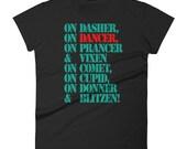 Christmas Swing Dance T Shirt | Women's short sleeve holiday Reindeer Dancer t-shirt | Swing Swag Dance Gifts