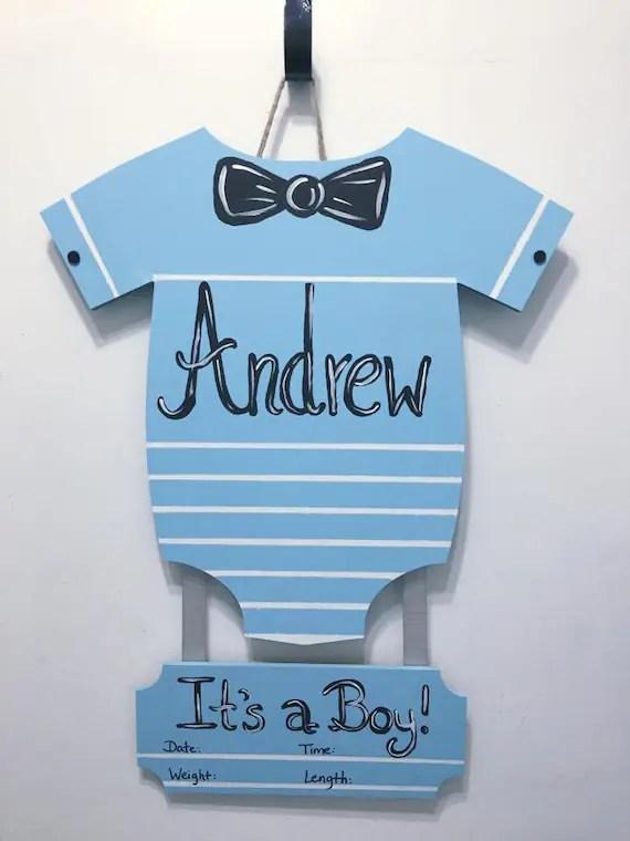 Baby Boy Birth Announcement Door Hangers : birth, announcement, hangers, Onsie, Hanger, Birth, Announcement, Nursery, Decor