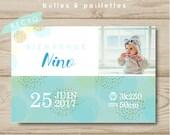 Birth-share customizable boy postcard bubbles - glitter