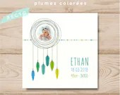Personalized boy birth announcement square feathers colorful