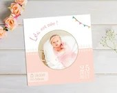 Square birth announcement personalized girl with small feet and banner party