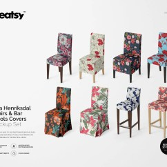 Chair And Stool Covers Cracker Barrel Rocking Reviews Cover Etsy Ikea Henriksdal Chairs Bar Stools Mockup Set Template Personalized Psd
