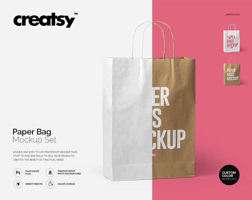All kind of appareal mockups. Paper Bag Mockup Set Paper Bag Template Craft Paper Kraft Etsy