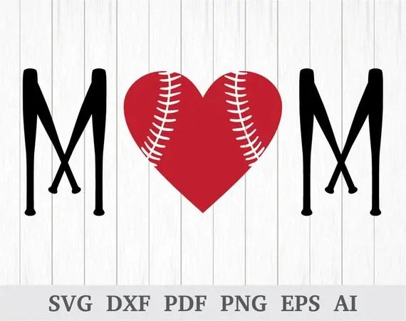Download Baseball Mom Heart SVG Baseball Bat Mom SVG Baseball | Etsy