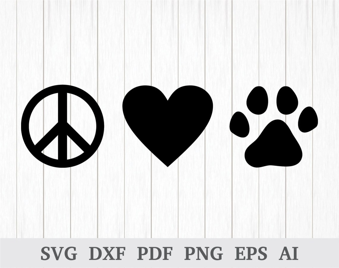 Download Peace Love Paw SVG Peace Love Dogs SVG Animal Lover SVG ...