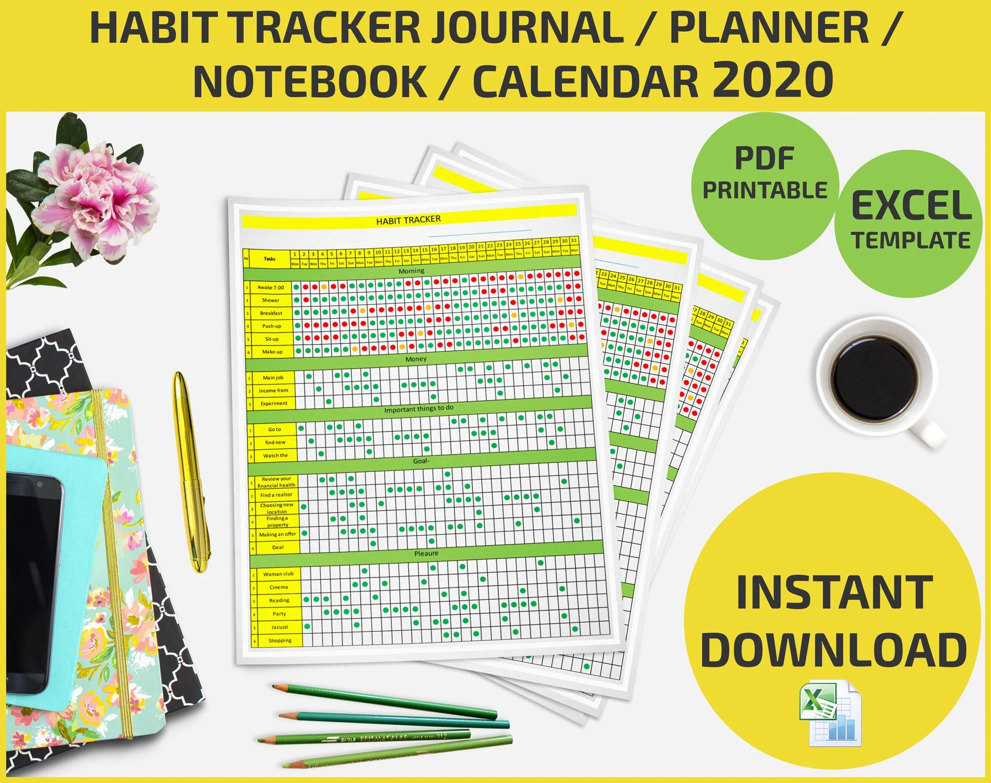 Habit Tracker Journal Planner List Maker Notebook
