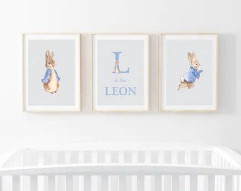 rabbit nursery art etsy