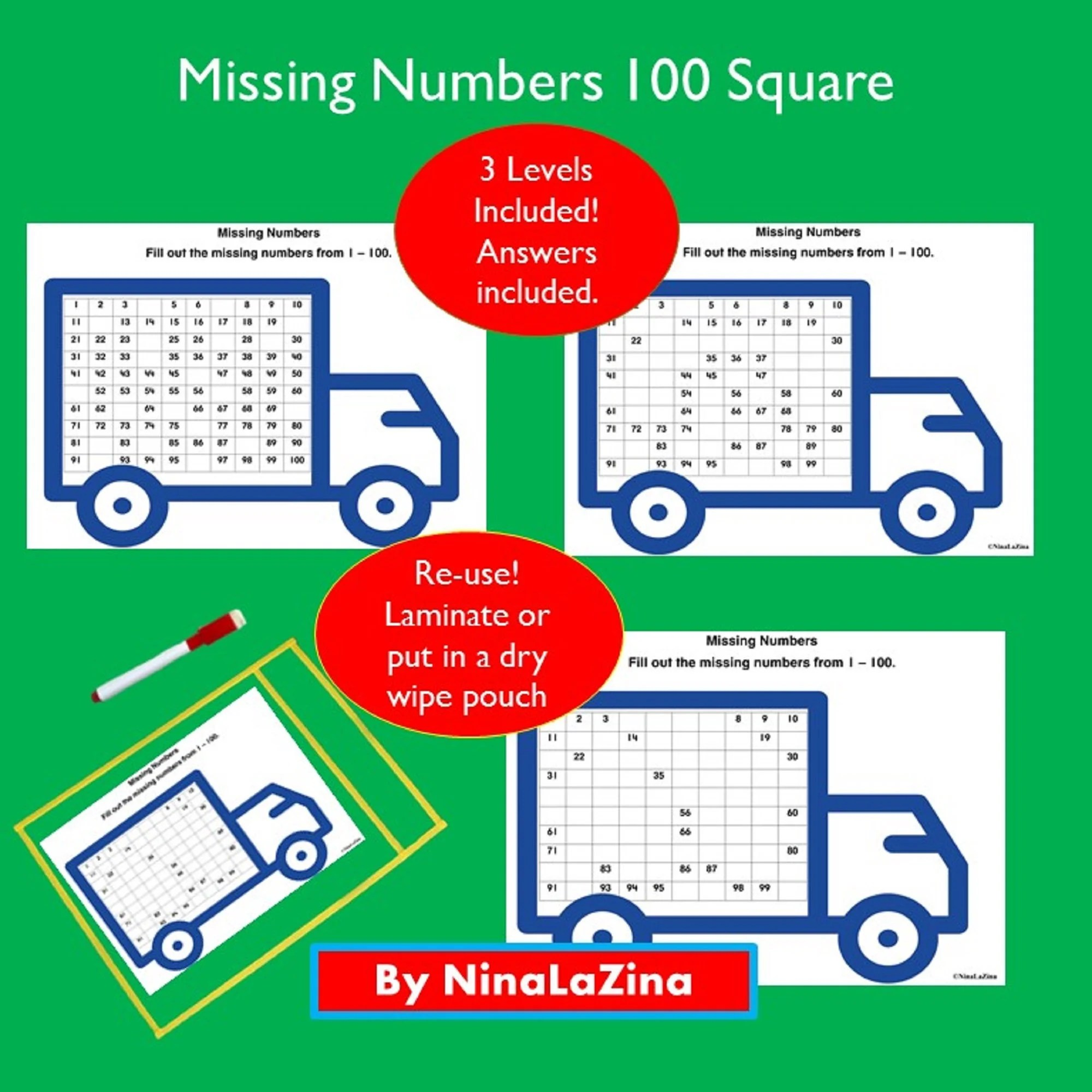 Hundred Square Numbers 100 Grid Wipe Clean For School