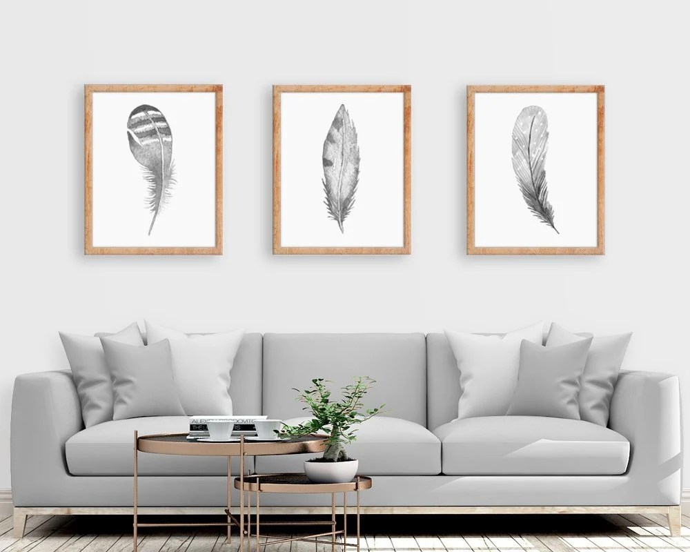 cheap wall art for living room interior design rooms with fireplaces etsy watercolor feather print set of 3 prints grey poster unframed