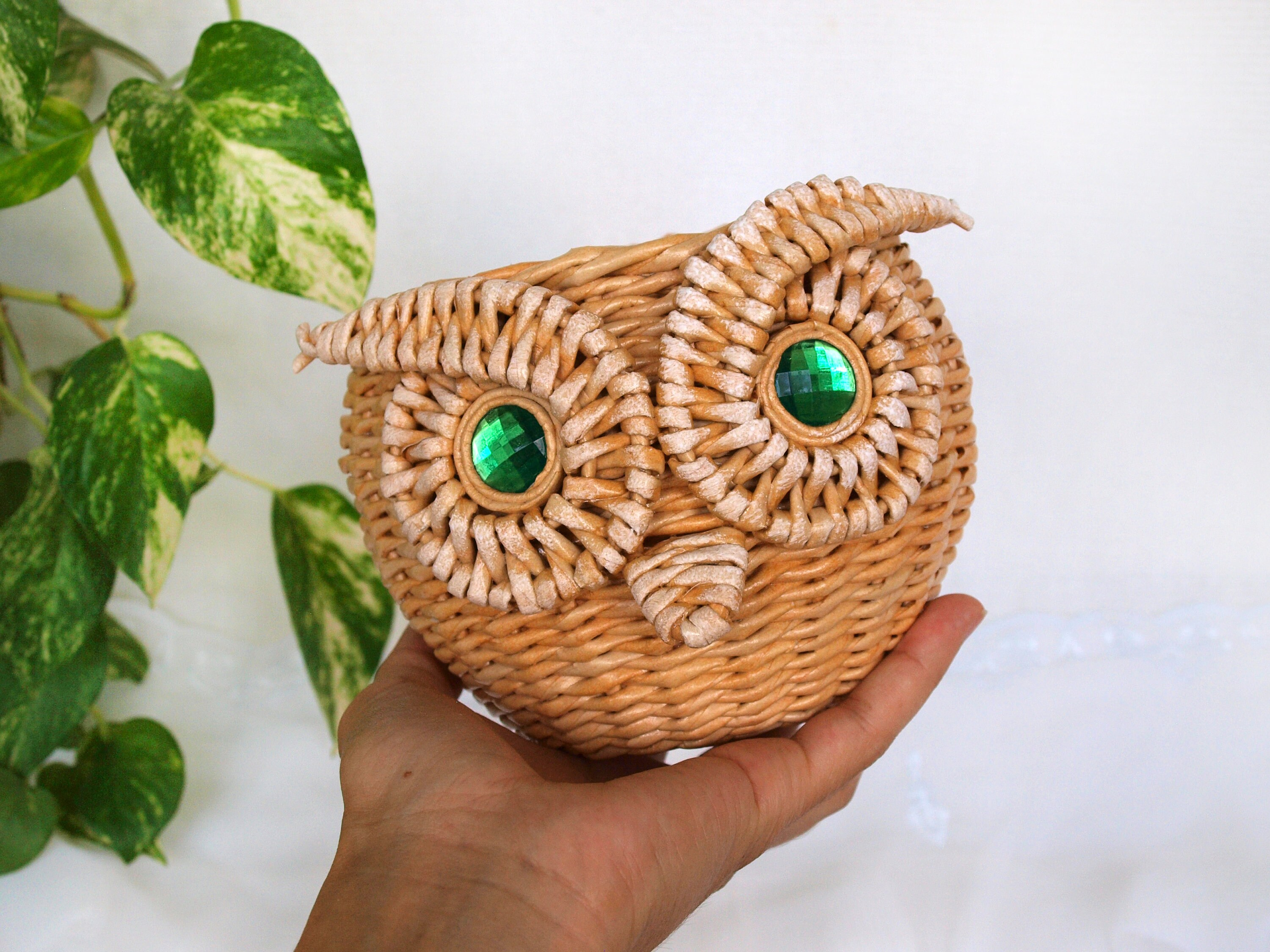Cute Owl Decor Owl Wicker Basket Vase Art Decor Outdoor Garden Decor Yard Garden Art Unique Gift Cute Owl Decor Owl Cute Lover Gift Christmas Gift
