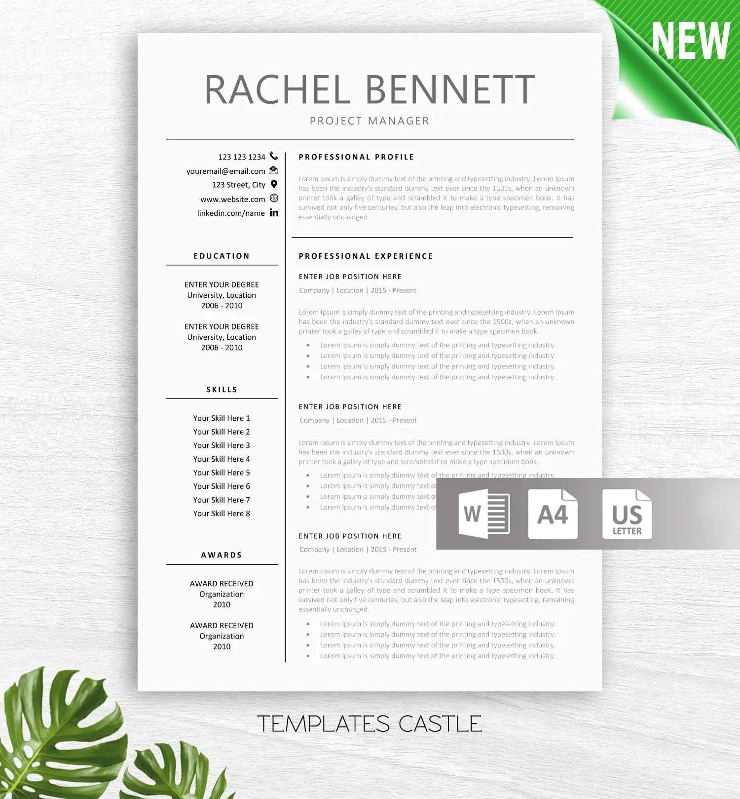 Teaching Resume Templates Resume Template Modern Professional Cv Teacher Resumes Elementary Resume Teaching Resume Administration Templates Instant Download Word Txcd