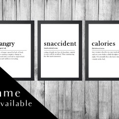 Kitchen Prints Touchless Faucet Reviews Print Etsy Set Wall Art Signs Framed Hangry Snaccident Frame Frames Of