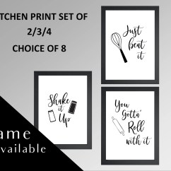 Art For Kitchen Wall Movable Island Etsy Signs Framed Print Frame Frames Set Of Prints