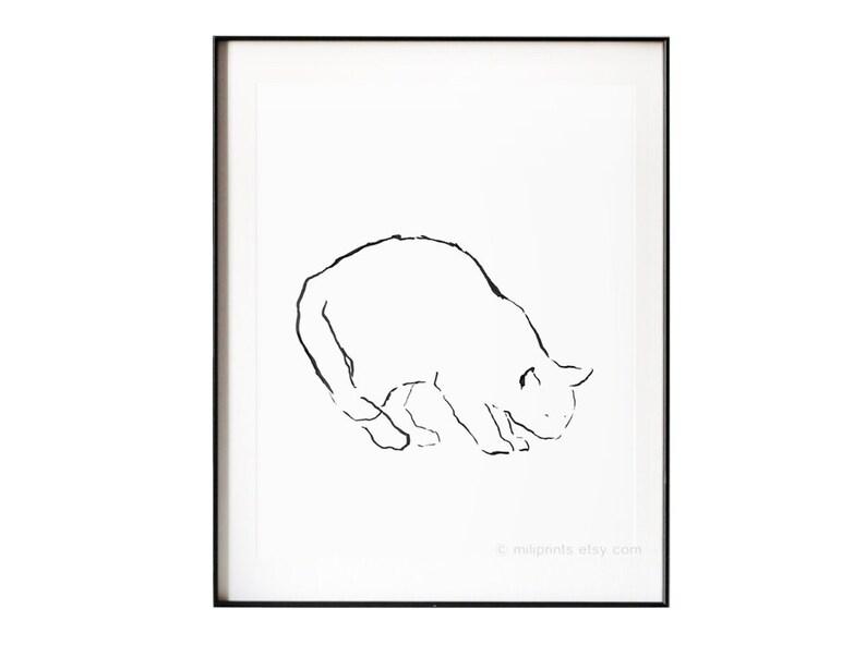 Cat Drawing Cat Figure Cat Art Print Minimalist Line Cat