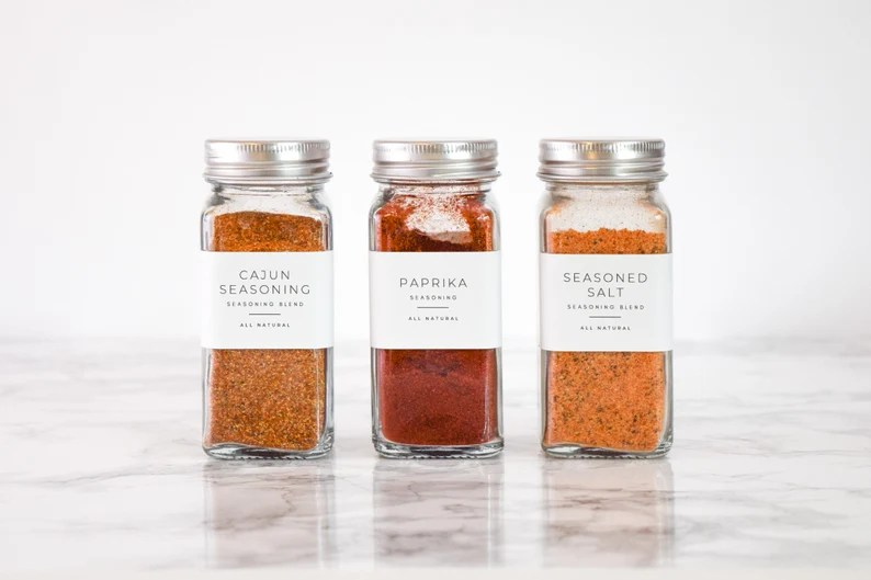 Minimalist Spice Labels   Personalization Available  1.25t x 2.25w White