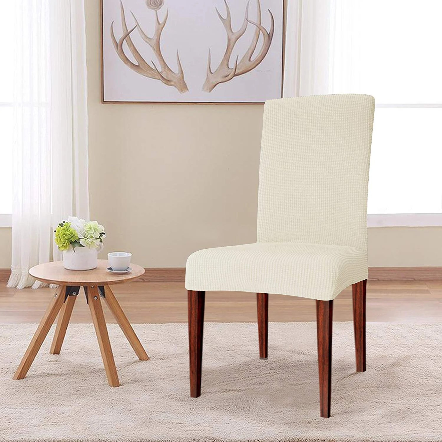Dining Chair Slipcover Elegant Knitting Jacquard Box Cushion Dining Chair Slipcover