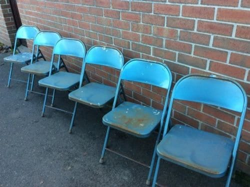 krueger folding chairs office for short people set of six metal c1945 1950