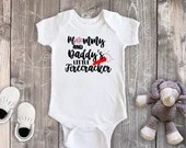 Mommy & Daddys Little Firecracker, Baby Girl Bodysuit, Baby Boy Bodysuit, Toddler Shirt, 4th of July Outfit, First Fourth of July