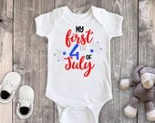 My 1st Fourth of July, First 4th of July Bodysuit, Baby Girl Bodysuit, Baby Boy Bodysuit, Toddler Shirt, Fourth of July Outfit