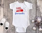 Little Miss Firecracker Fourth of July Shirt, 4th of July Bodysuit, Baby Girl Bodysuit, Baby Boy Bodysuit, Toddler Shirt