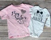 Big Sister Little Brother Outfit, Big Sister to a Little Mister, Little Mister, Matching sibling shirt set, Big Sister, Little Brother