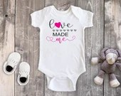Love Made Me Bodysuit, Newborn Baby Outfit, Baby Shower Gift,  Baby Girl Outfit, Take Home Outfit, Hospital Outfit