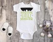 Handsome Little Monster Halloween Shirt, Boy Halloween Shirt, Boy Halloween Bodysuit, Holiday Outfit, 1st Halloween Outfit