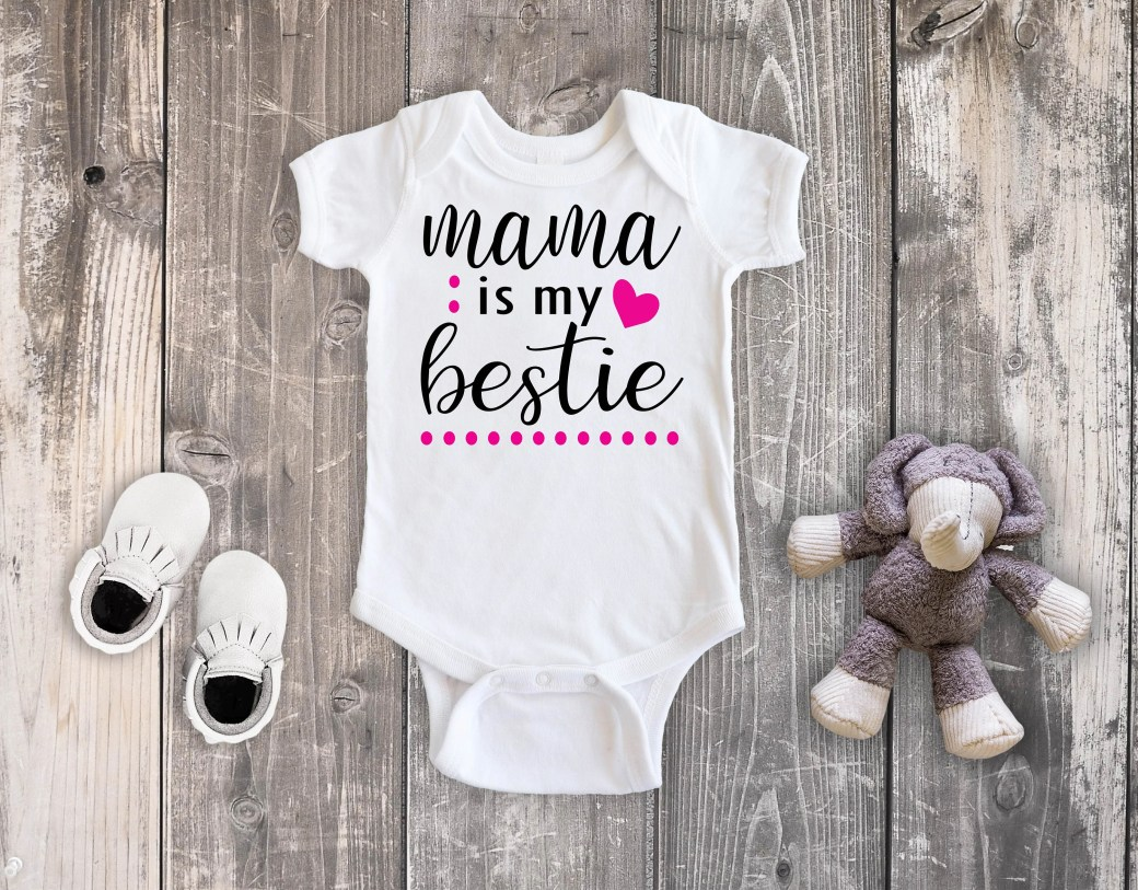 Mama Is My Bestie Bodysuit, Mommy & Me Shirts, Baby Girl Clothing, Toddler Girl Shirt, Mommy Daughter Shirts, Matching Mommy and Me Shirts
