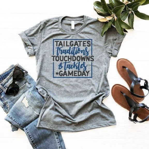 Tailgates, Traditions, Touchdowns & Tackles, Gameday Shirt, Football Season Shirt, Woman Tee, Mom Shirt, Gift for Mom, Boyfriend Style Tee