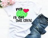 My Heart Is On That Court Volleyball Mom Shirt, Personalized Volleyball Mom Shirt, Woman Tee, Mom Shirt, Gift for Mom, Boyfriend Style Tee