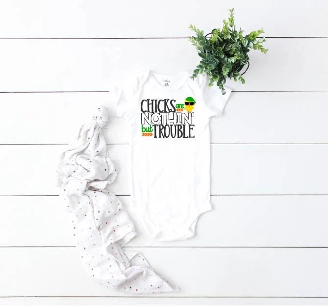 Chicks Are Nothin' But Trouble Baby Boy Easter Outfit, Baby Boy Easter Outfit, Newborn Coming Home Outfit, First Easter