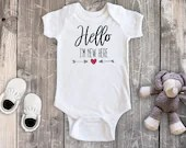 Hello I'm New Here Bodysuit, Newborn Baby Outfit, Baby Girl Outfit, Baby Boy Outfit, Baby Shower Gift, Take Home Outfit, Hospital Outfit