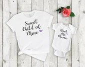 Set of 2, Mommy and Me Outfits, Sweet Child of Mine - Rock Me Mama, Matching mother daughter shirt set, mama & me, mom and daughter