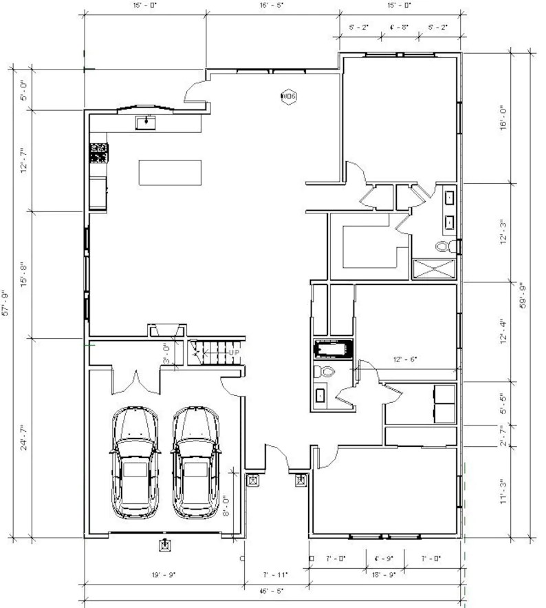 Custom House Plans and Blueprints Modern 3 bed 2 Bath