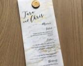 Gold Marble Vellum Wedding Menu | Wedding Dinner Menu | Vellum Menu | Wax Seal | Custom Menu Card | Marble Wedding Menu | Wedding Reception