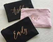 Bridesmaid Makeup Bag | Personalized Makeup Bag | Bridal Party Gift | Personalized Cosmetic Bags | Rose Gold Bag | Bridesmaid Proposal
