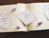 Geometric Wedding Place Cards | Hexagon Escort Cards | Diamond Escort Cards | Custom Place Cards | Seating Assignments | Wedding Table Decor