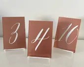 Custom Acrylic Table Numbers | Wedding Table Number | Rose Gold Table Numbers | 5x7 Acrylic Table Numbers | Handwritten Table Numbers |