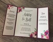 Burgundy Wedding Invitation | Floral Burgundy Gate Fold Invite | Floral Wedding Invitation | Printed Modern Marsala Invitation Suite