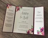 Burgundy Wedding Invitation | Floral Burgundy Gate Fold Invite | Floral Wedding Invitation | Printed Modern Marsala Invitation Suite