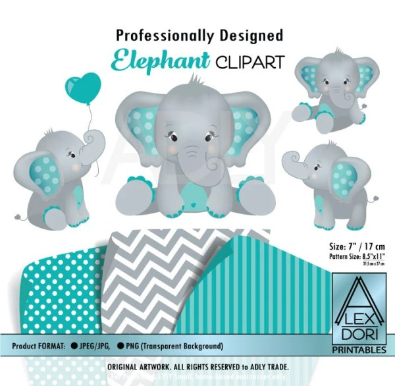 elephant art teal baby shower gray